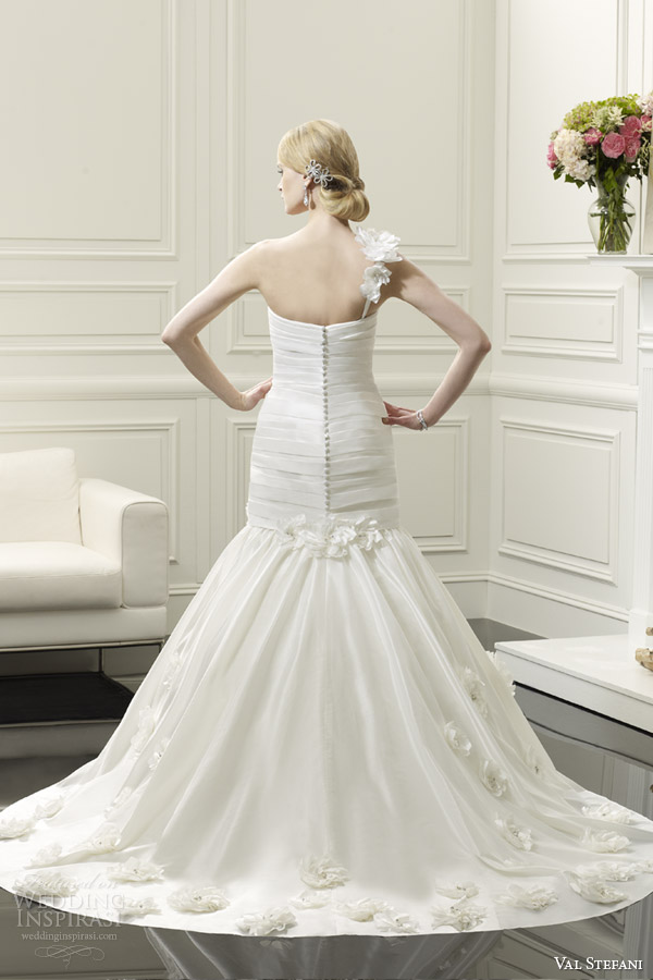 val stefani spring 2014 one shoulder fit and flare wedding dress style d8056 back view train