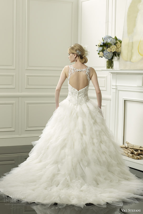 val stefani spring 2014 wedding dress illusion neckline style d8053 keyhole back