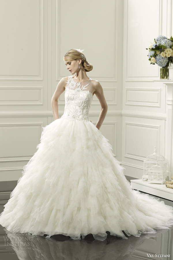 val stefani spring 2014 wedding dress illusion neckline style d8053