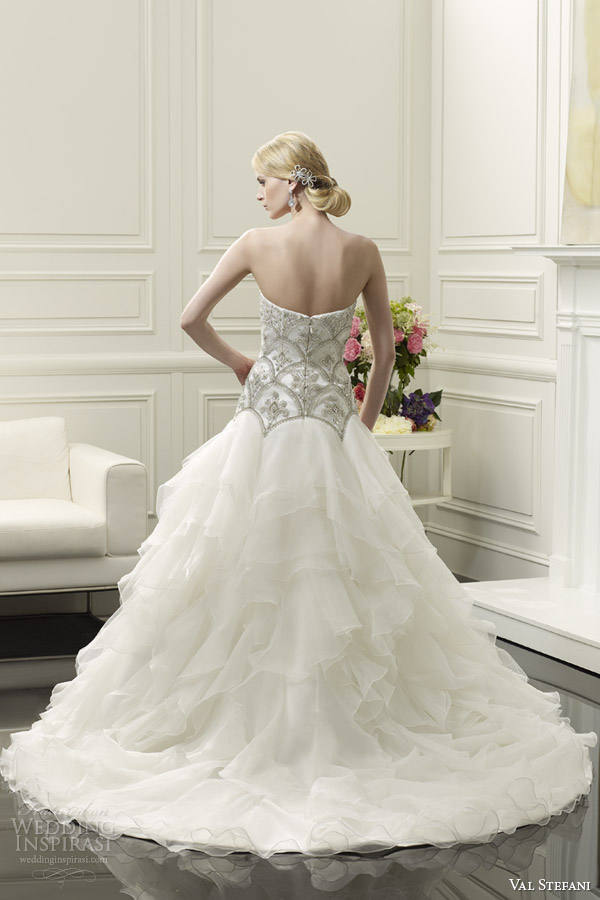 val stefani wedding dresses spring 2014 bridal strapless ball gown style d8059 back view train