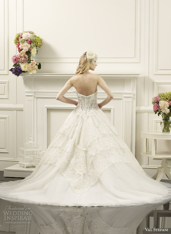 val stefani wedding dresses spring 2014 bridal strapless lace corset ball gown style d8060 back view train