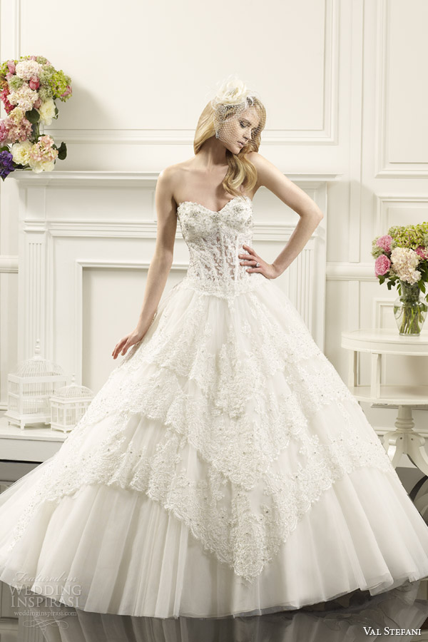 val stefani wedding dresses spring 2014 bridal strapless lace corset ball gown style d8060