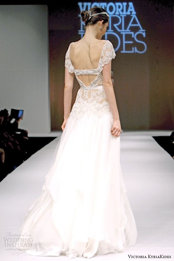 victoria kyriakides bridal fall 2014 cavo paradiso short sleeve wedding dress back
