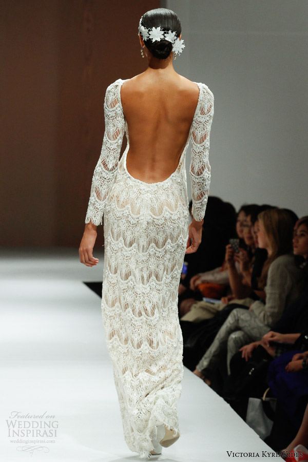 victoria kyriakides fall 2014 long sleeve wedding dress o academy open back