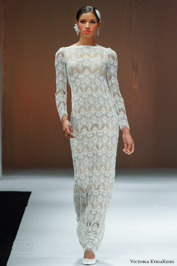 victoria kyriakides fall 2014 long sleeve wedding dress o academy