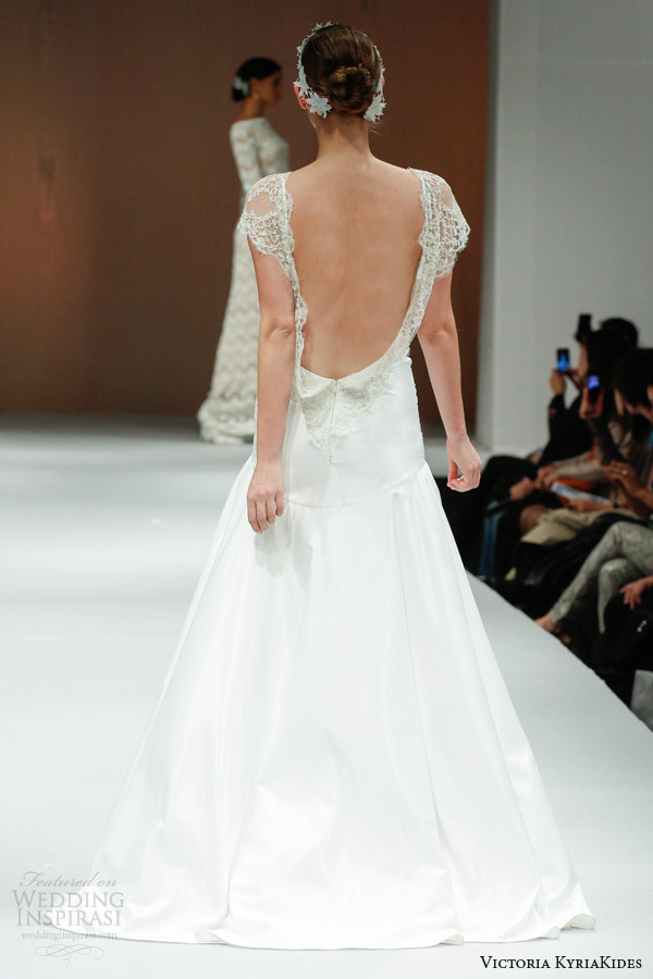 victoria kyriakides fall 2014 short sleeve wedding dress eden open back
