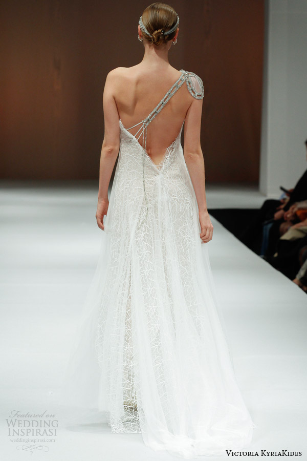 victoria kyriakides wedding dresses fall 2014 bunches of love one shoulder gown low back