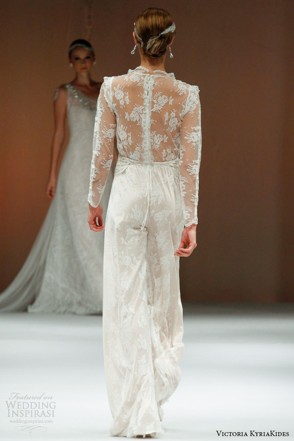 victoria kyriakides wedding dresses fall 2014 marlene ds bridal jumpsuit illusion back long sleeves