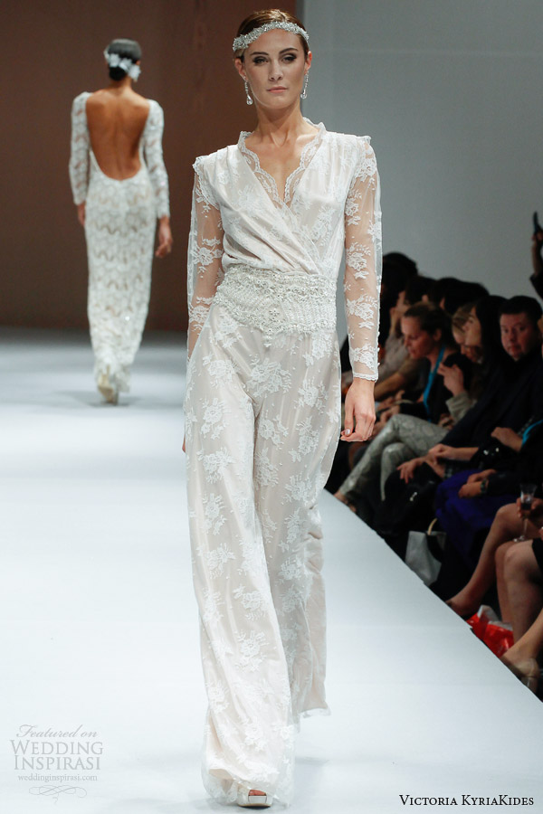 victoria kyriakides wedding dresses fall 2014 marlene ds bridal jumpsuit illusion long sleeves