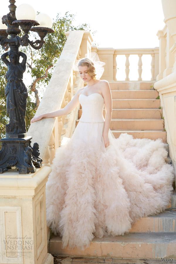 wtoo spring 2014 allegra strapless blush pink wedding dress ruffle skirt style 12603