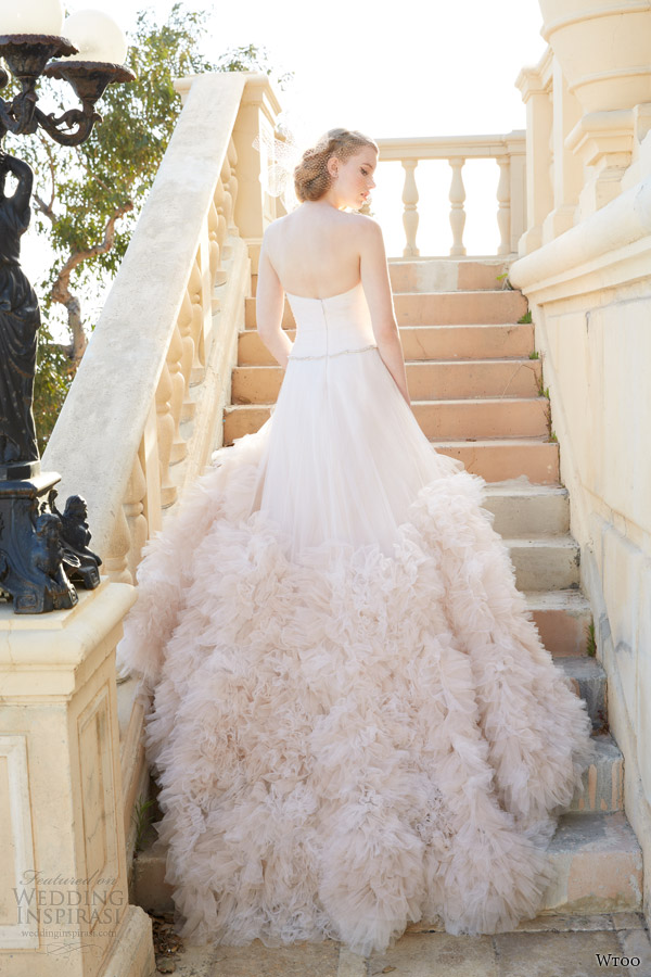 Wtoo brides spring 2014 wedding dresses wedding inspirasi for Pink ruffle wedding dress