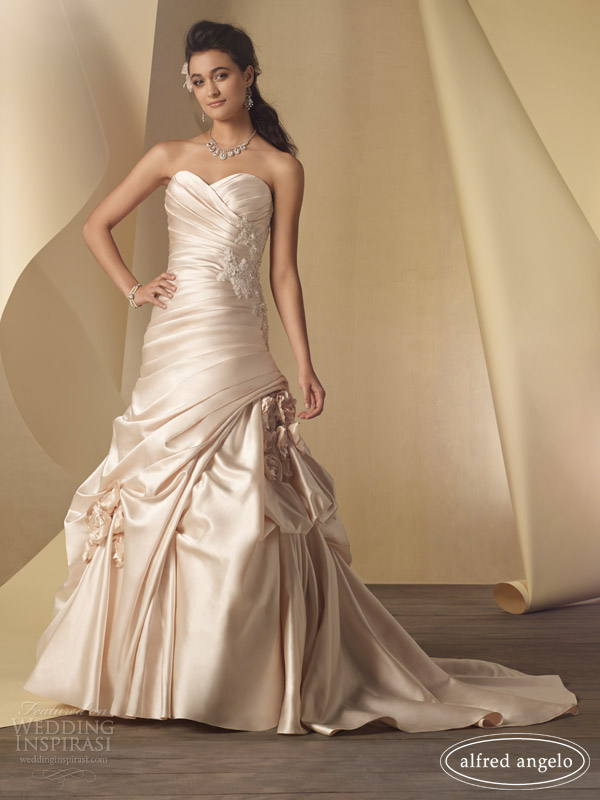 alfred angelo 2014 color wedding dresses champagne pink style 2453