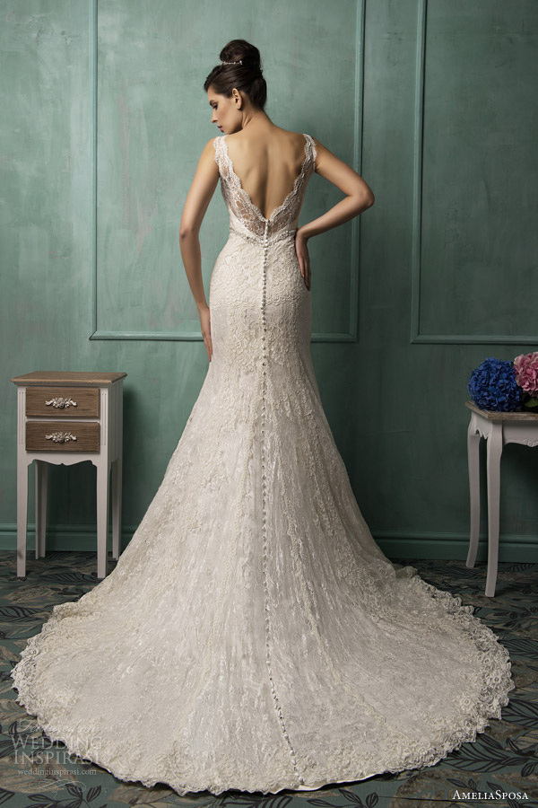 amelia sposa bridal 2014 bianca sleeveless wedding dress back train