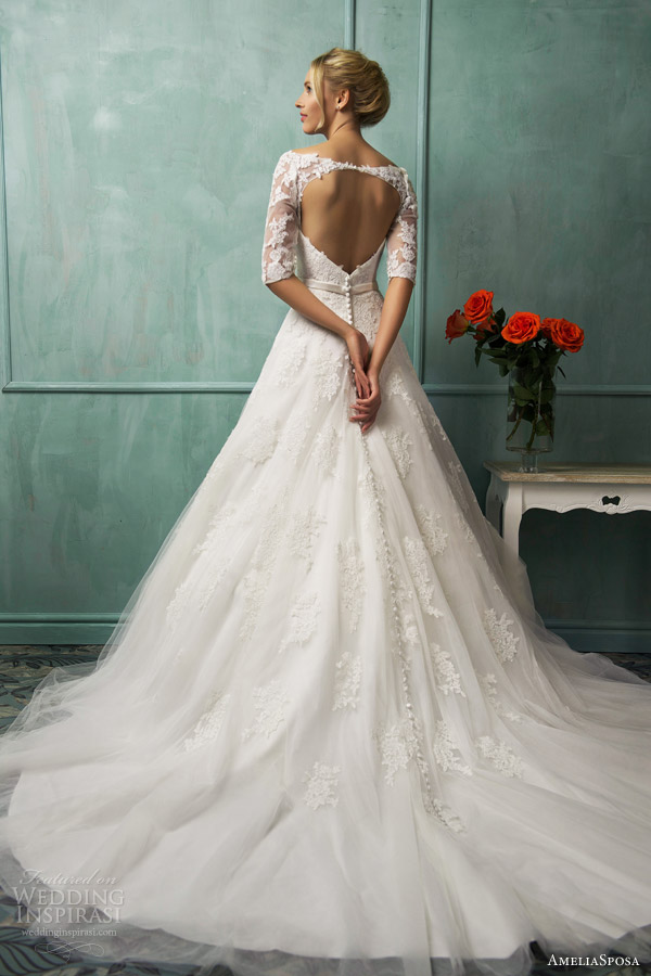 amelia sposa bridal 2014 donatela wedding dress sleeves keyhole back