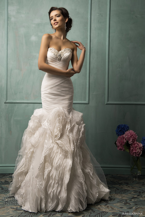 amelia sposa bridal 2014 lorenza strapless wedding dress ruffle skirt