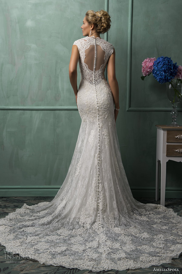 amelia sposa wedding dresses 2014 daria cap sleeve lace gown back illusion portrait