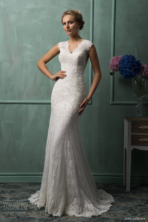 amelia sposa wedding dresses 2014 daria cap sleeve lace gown