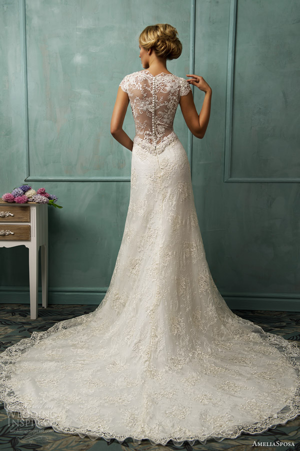 2013 wedding trends illusion neckline wedding dresses for Wedding dress illusion back