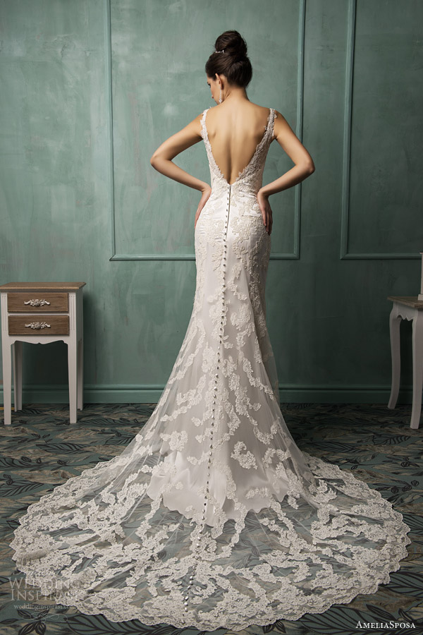 amelia sposa wedding dresses 2014 fiora sleeveless lace gown back