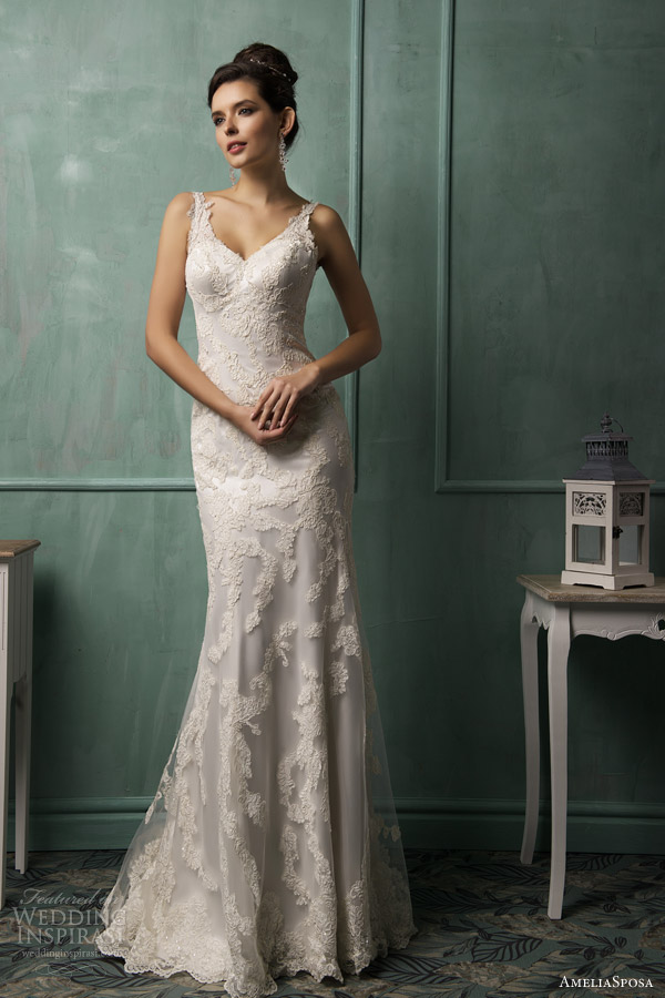 amelia sposa wedding dresses 2014 fiora sleeveless lace gown