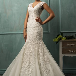 amelia sposa wedding dresses 2014 lanta cap sleeve fit flare gown