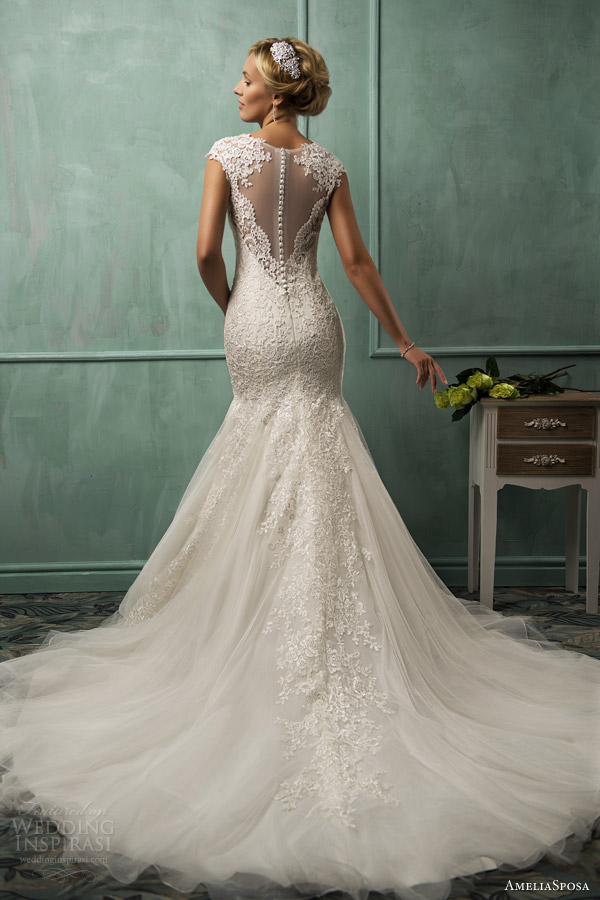 amelia sposa wedding dresses 2014 lanta cap sleeve fit flare gown illusion back