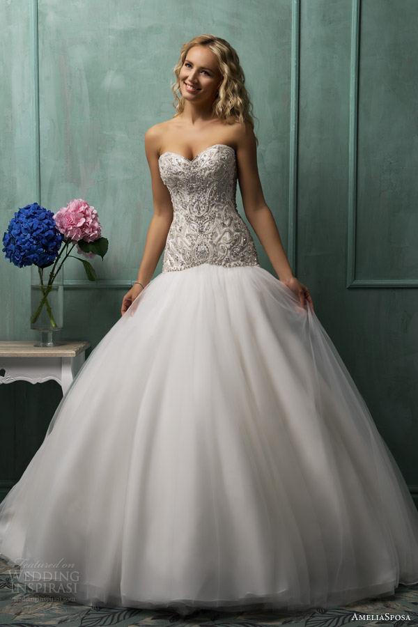 Gallery For Satin Drop Waist Ball Gown Wedding Dresses