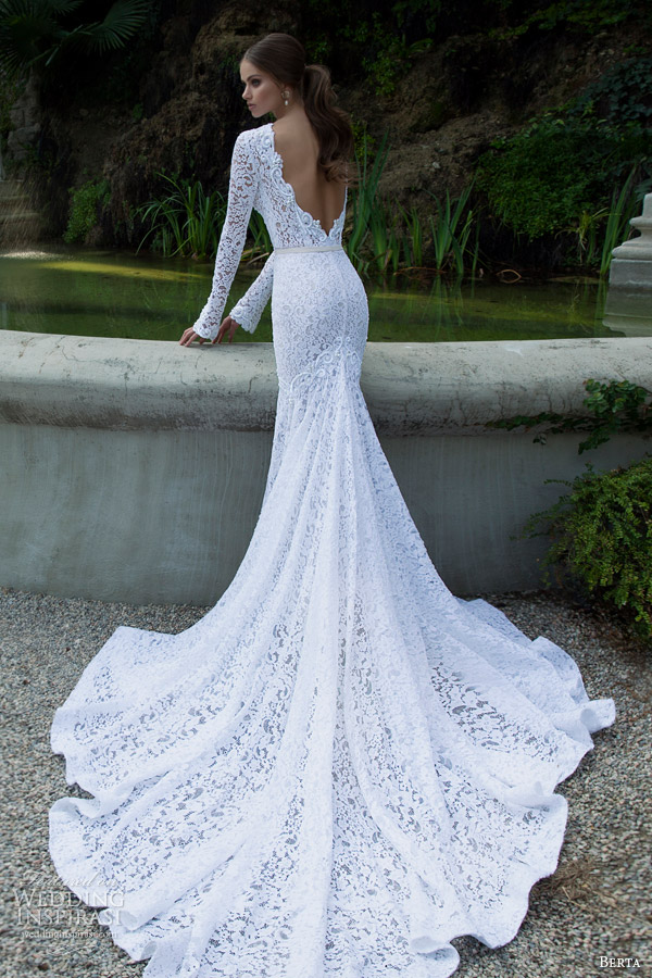 berta 2014 bridal collection long sleeve lace wedding dress back train