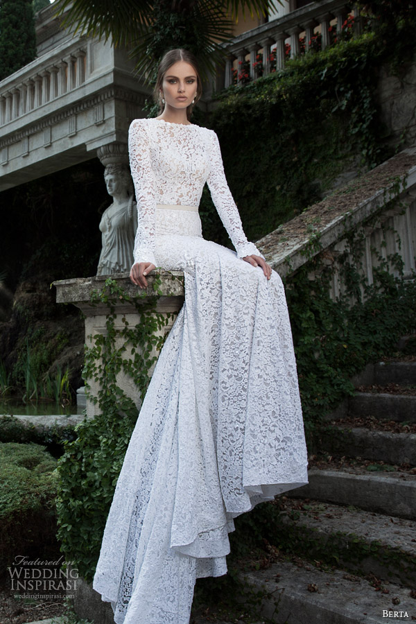 berta 2014 bridal collection long sleeve lace wedding dress
