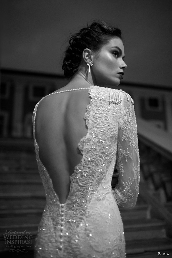 berta 2014 long sleeve lace wedding dress back detail pearl sequins
