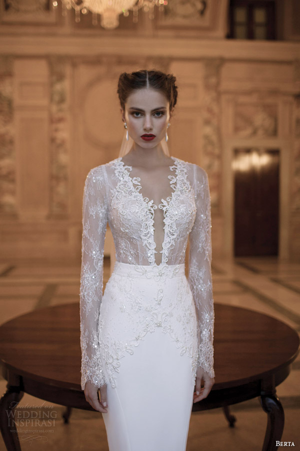 berta bridal gowns 2014 long illusion sleeve dress close up