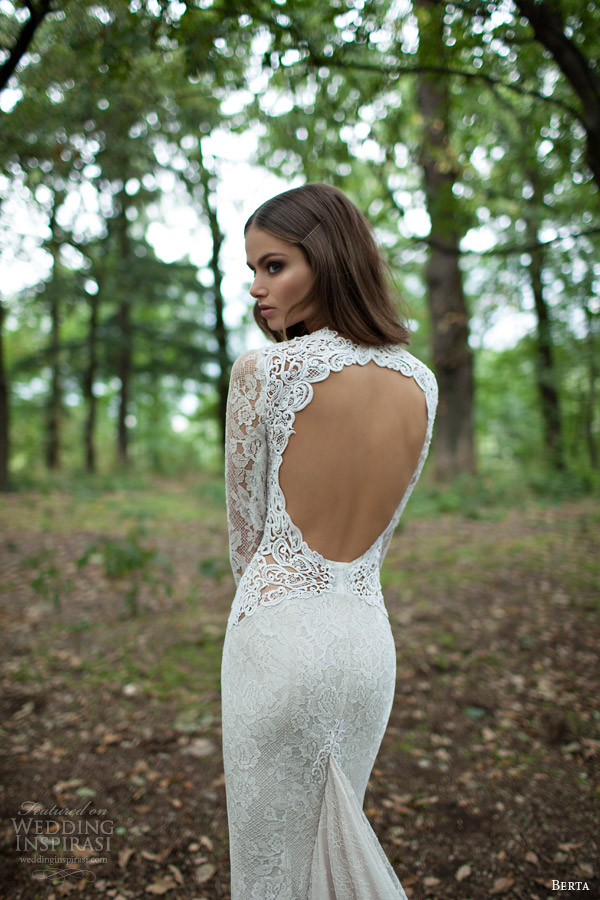 berta bridal winter 2014 long sleeve wedding dress close up
