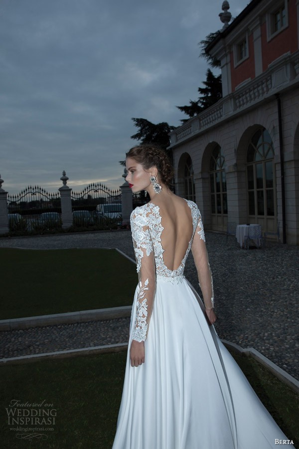 berta bridal winter 2014 wedding dress long illusion sleeves back