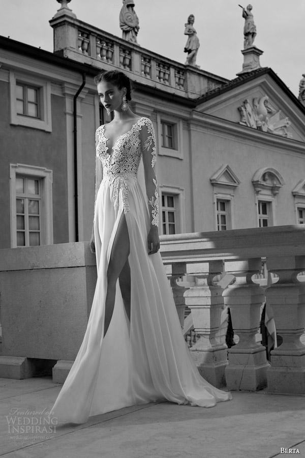 berta bridal winter 2014 wedding dress long illusion sleeves