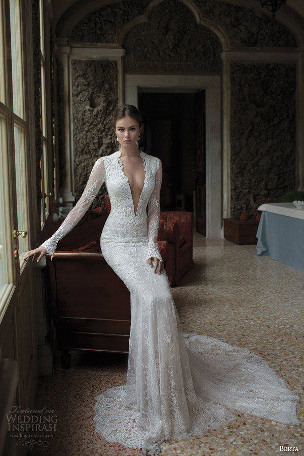 berta fall winter 2014 bridal collection long sleeve lace wedding dress v neckline