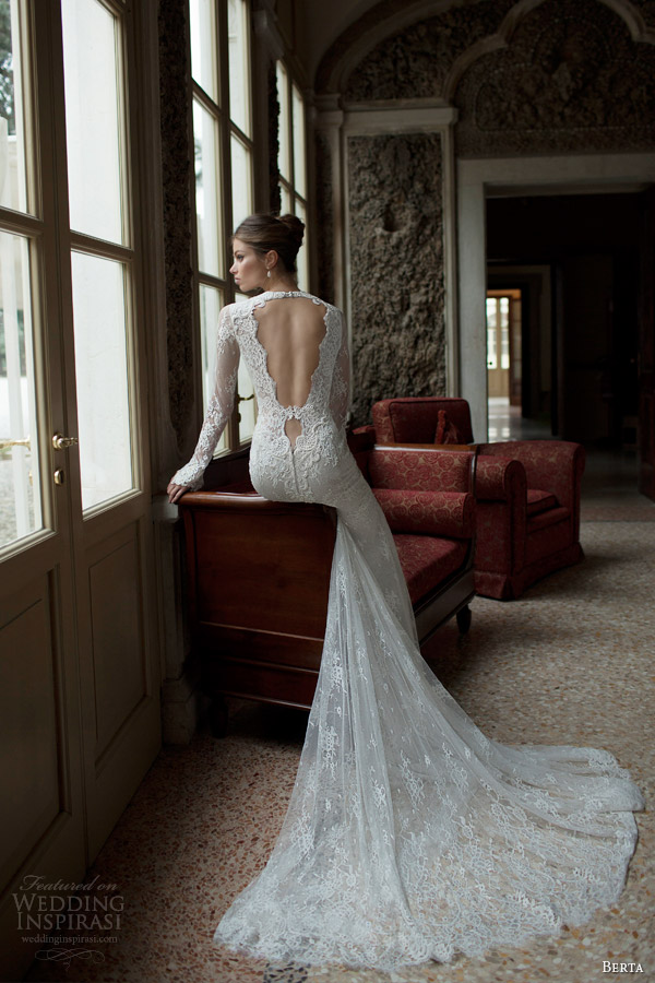 berta fall winter 2014 bridal collection long sleeve lace wedding dress