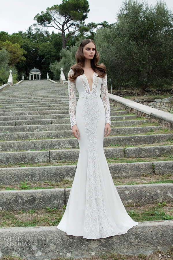 berta wedding dress 2014 long illusion sleeve bridal gown