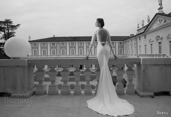 berta wedding dresses 2014 long sleeve gow back view
