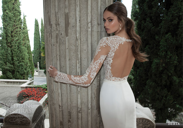 berta wedding gowns 2014 dress illusion lace top keyhole back
