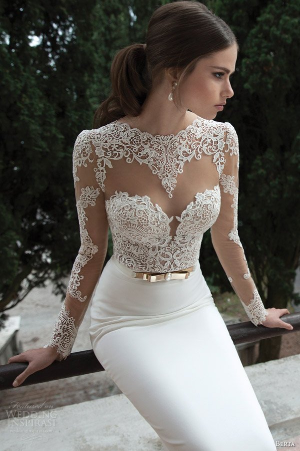 berta wedding gowns 2014 dress illusion lace top