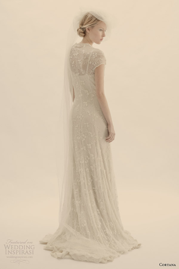 cortana bridal lace wedding dress with lining back view