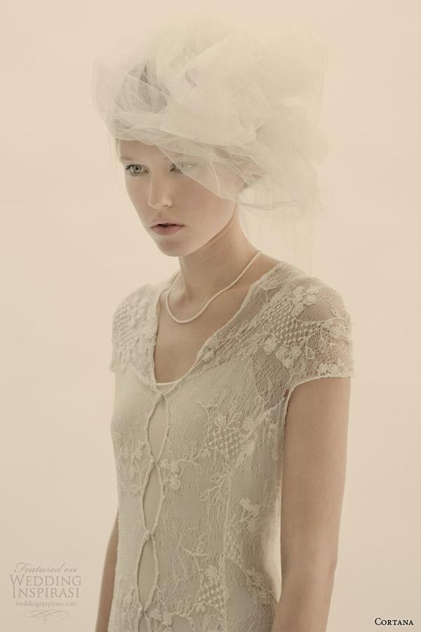 cortana bridal lace wedding dress with lining close up