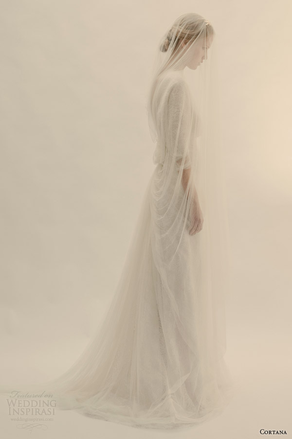 cortana bridal selene wedding dress back bow tulle veil