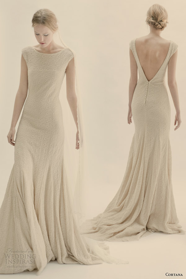 cortana wedding dress magnolia cap sleeve wool silk crepe gown