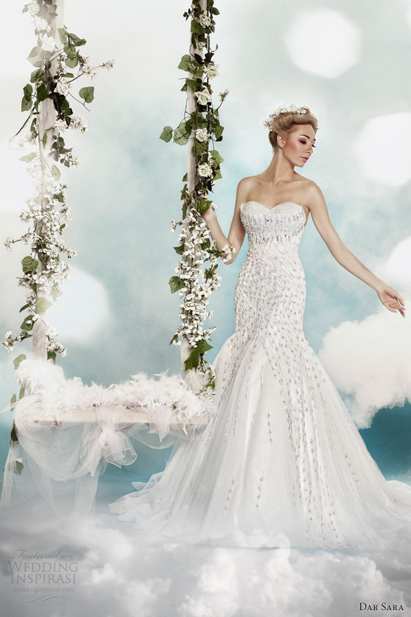 dar sara 2014 fit and flare strapless wedding dress