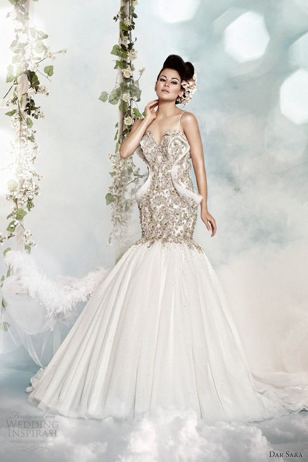 dar sara 2014 fit and flare wedding dress