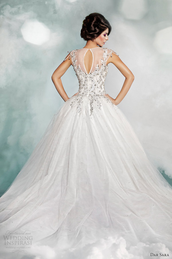 dar sara high fashion 2014 wedding dress illusion neckline ball gown keyhole back