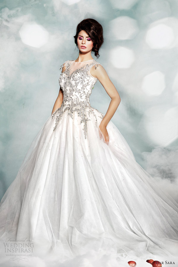 dar sara high fashion 2014 wedding dress illusion neckline ball gown