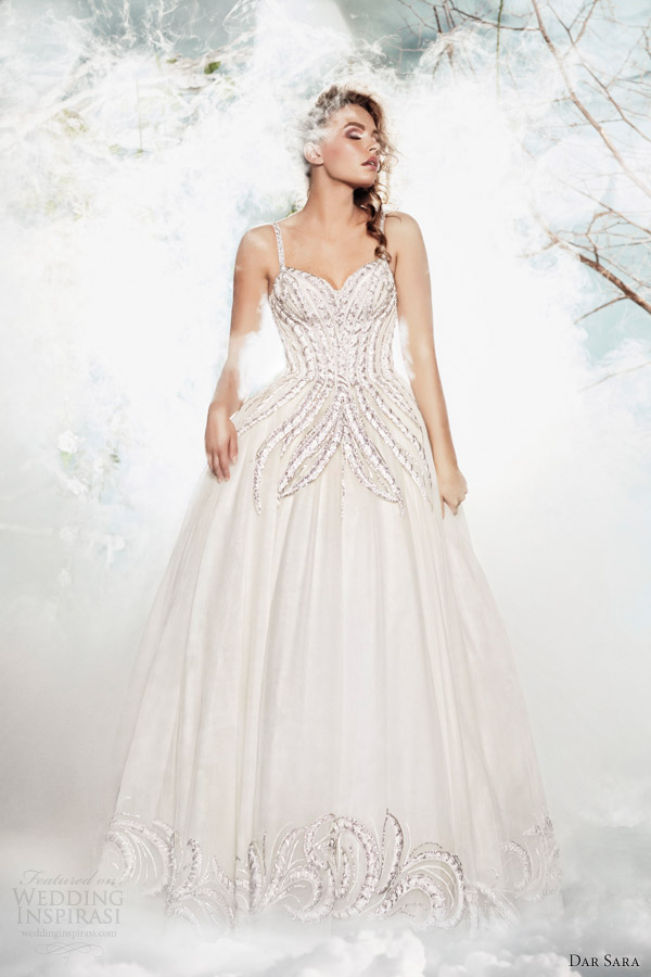 dar sara wedding dresses 2014 ball gown with straps