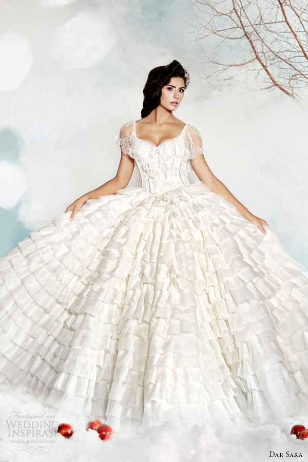 dar sara wedding dresses 2014 ruffle bridal ball gown with illusion sleeves